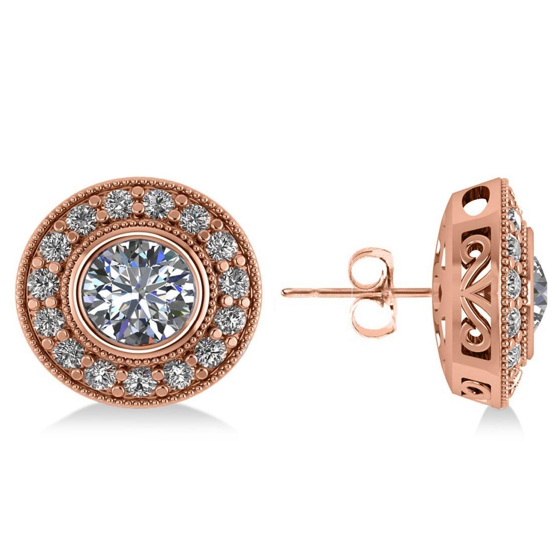 Diamond Halo Round Earrings 14k Rose Gold (2.90ct)