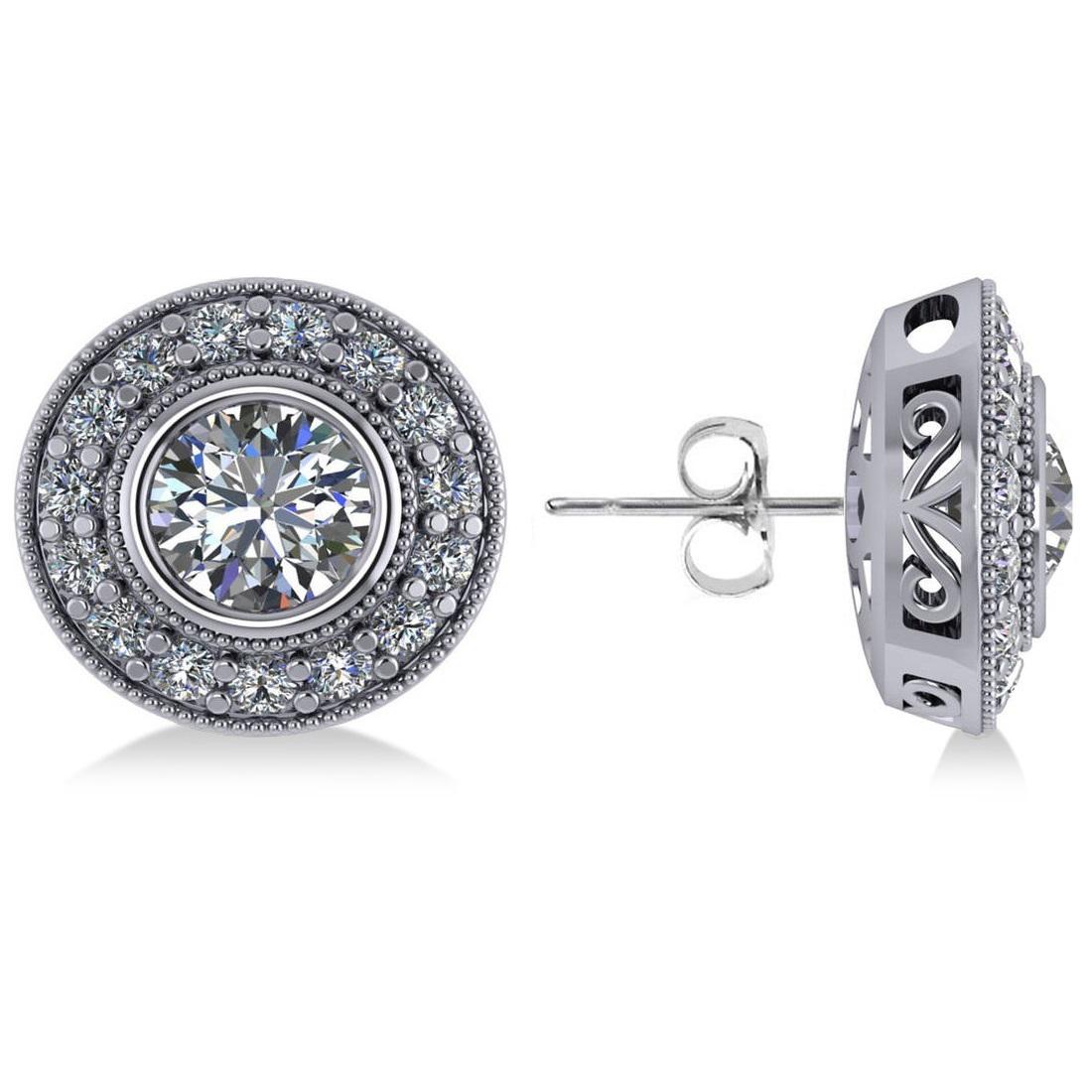 Diamond Halo Round Earrings 14k White Gold (2.90ct)