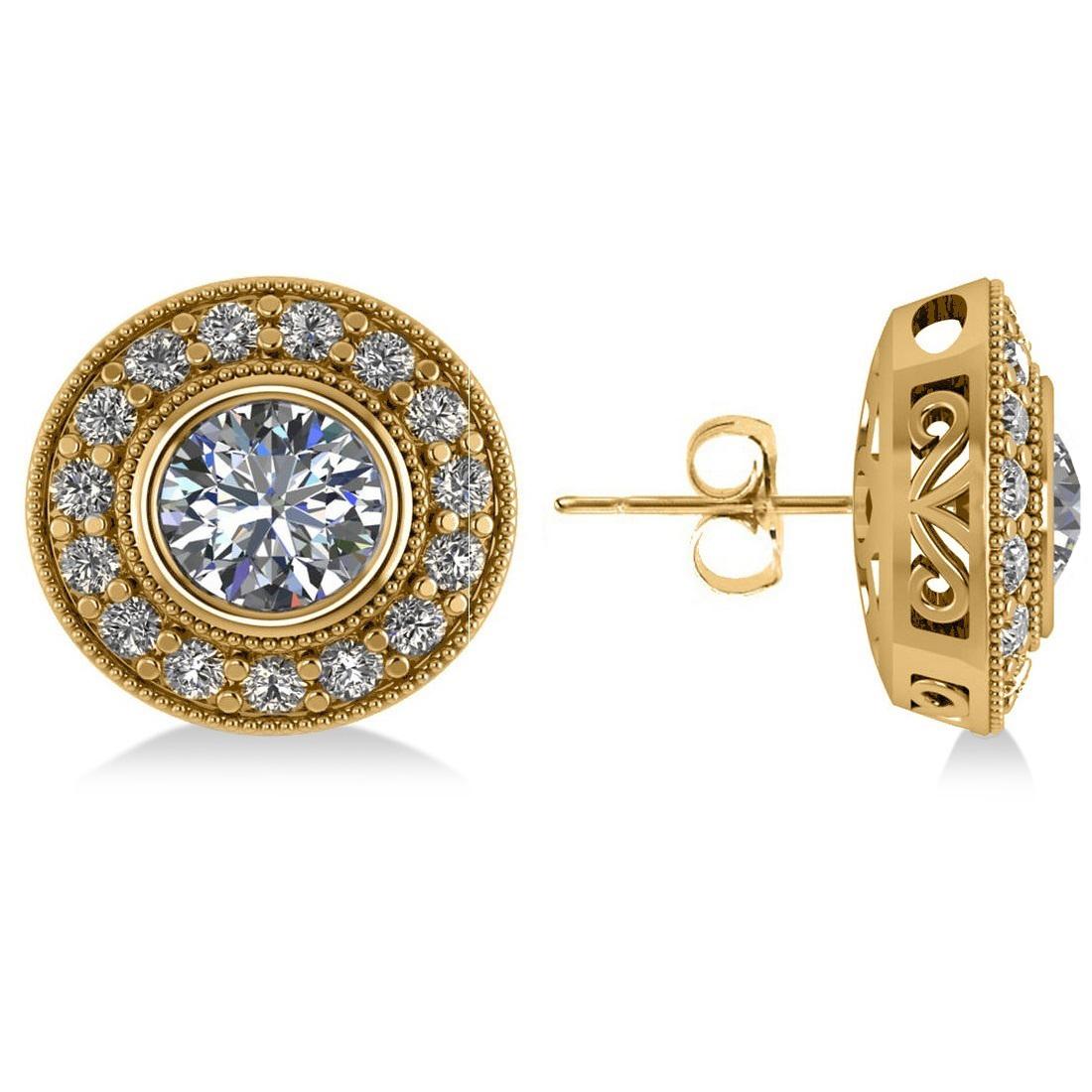 Diamond Halo Round Earrings 14k Yellow Gold (2.90ct)