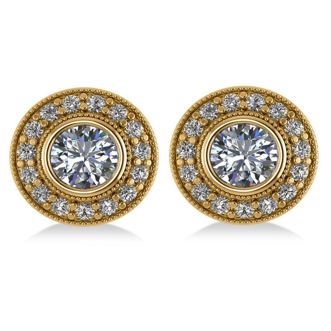yellow diamond halo earrings - photo #22