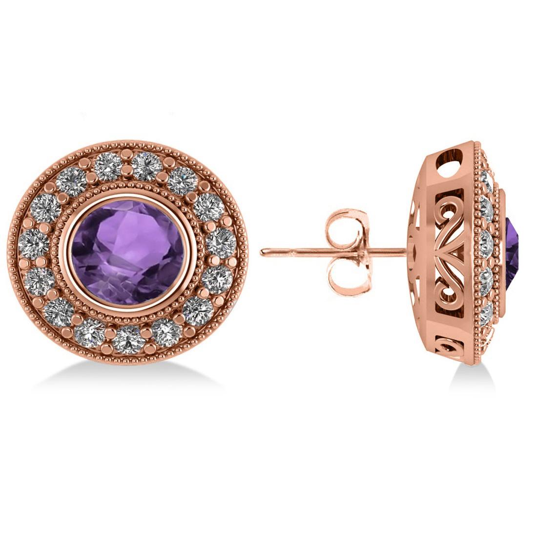 Amethyst & Diamond Halo Round Earrings 14k Rose Gold (3.10ct)