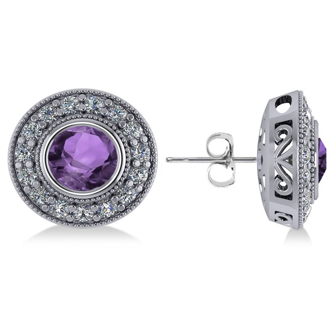 Amethyst & Diamond Halo Round Earrings 14k White Gold (3.10ct)