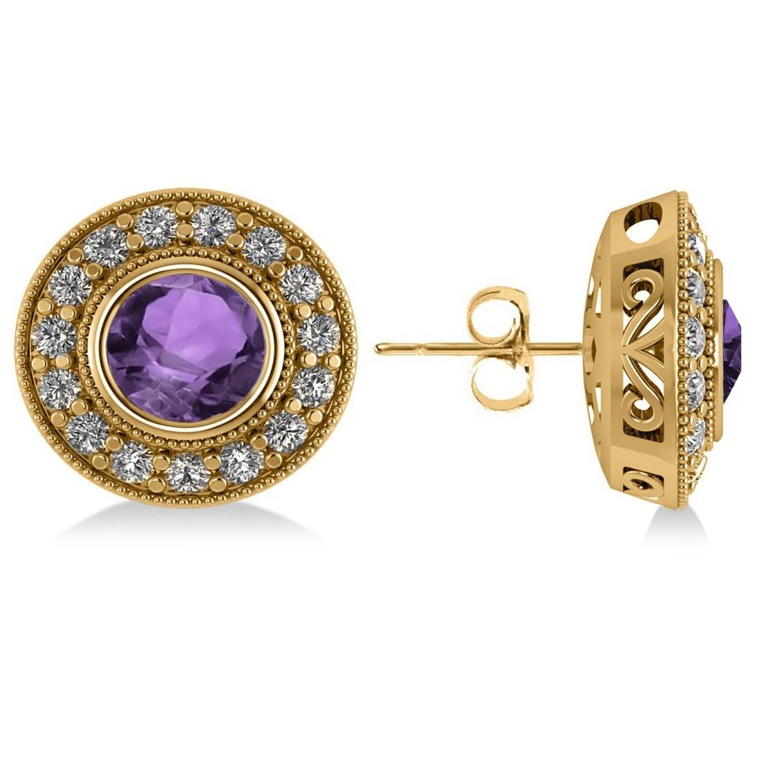 Amethyst & Diamond Halo Round Earrings 14k Yellow Gold (3.10ct)