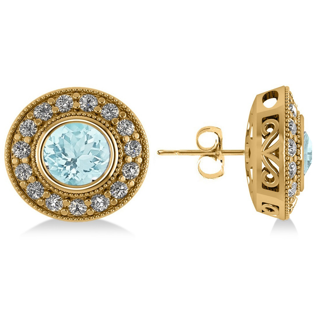Aquamarine & Diamond Halo Round Earrings 14k Yellow Gold (3.52ct)