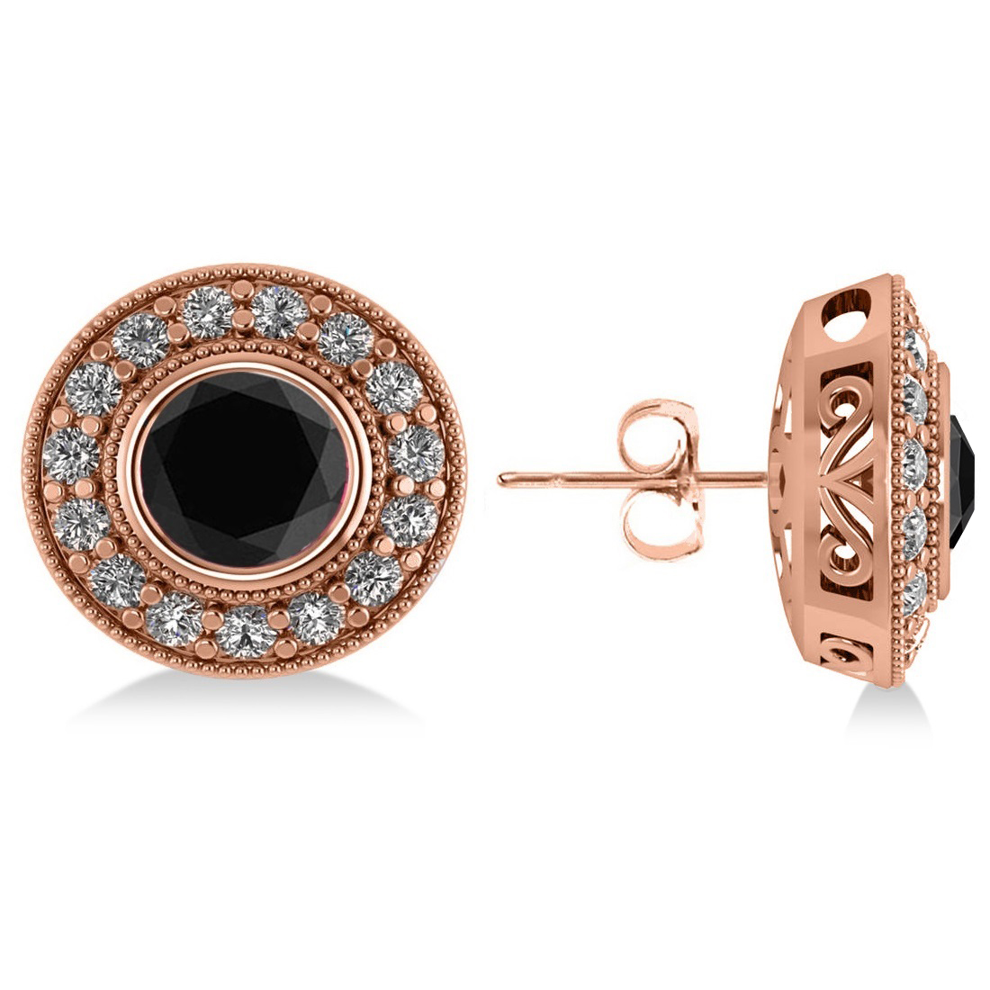 Black Diamond & Diamond Halo Round Earrings 14k Rose Gold (2.90ct)
