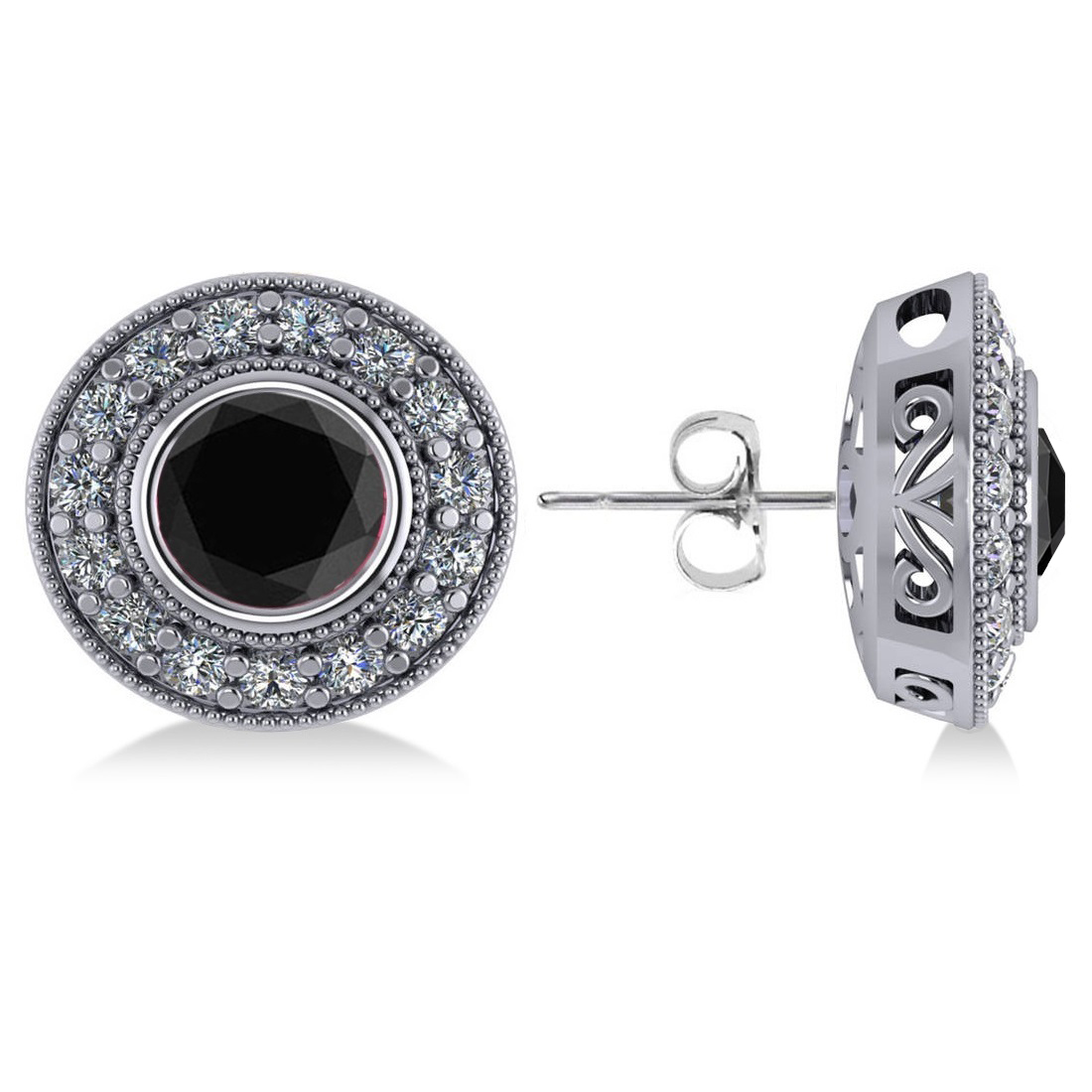 Black Diamond & Diamond Halo Round Earrings 14k White Gold (2.90ct)