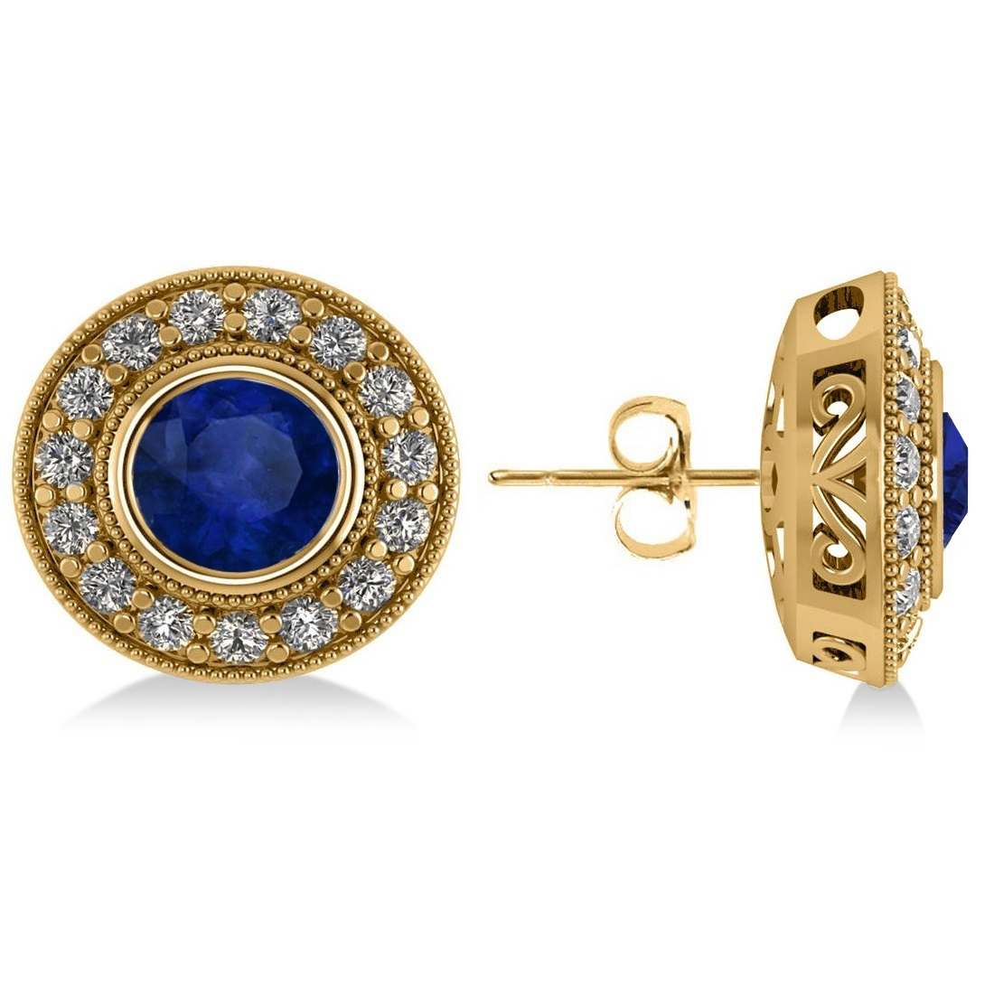 Blue Sapphire & Diamond Halo Round Earrings 14k Yellow Gold (3.72ct)