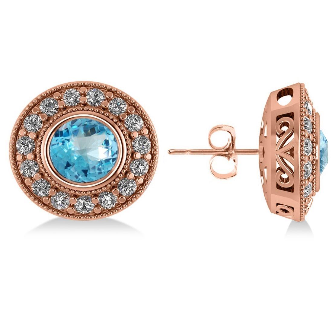 Blue Topaz & Diamond Halo Round Earrings 14k Rose Gold (3.62ct)