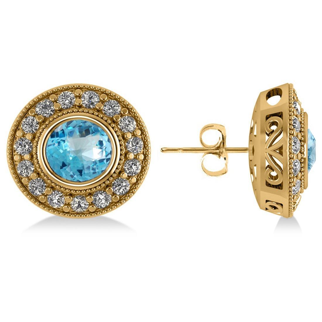 Blue Topaz & Diamond Halo Round Earrings 14k Yellow Gold (3.62ct)