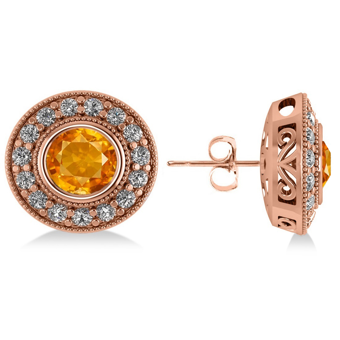 Citrine & Diamond Halo Round Earrings 14k Rose Gold (3.10ct)