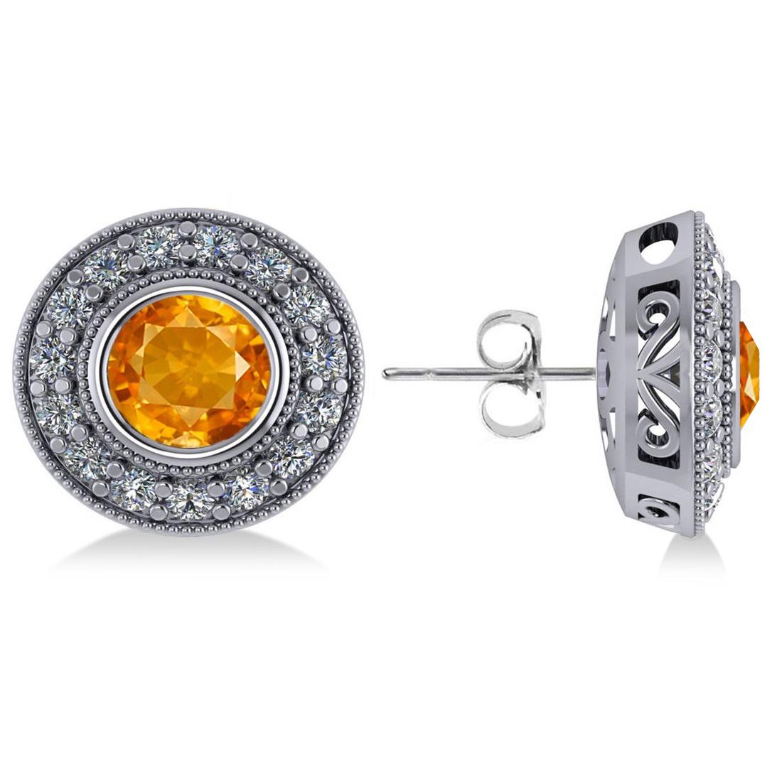 Citrine & Diamond Halo Round Earrings 14k White Gold (3.10ct)