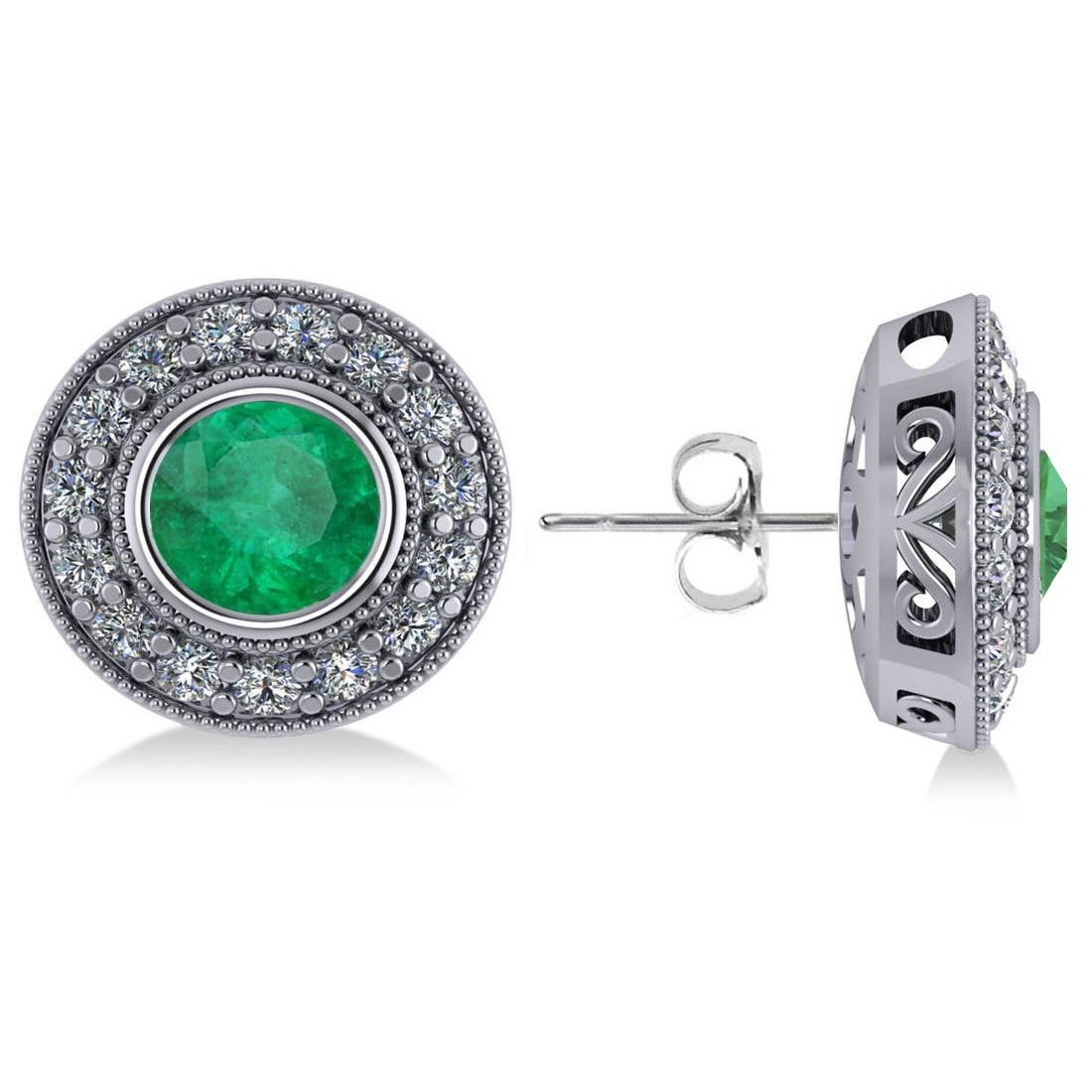 Emerald & Diamond Halo Round Earrings 14k White Gold (3.42ct)