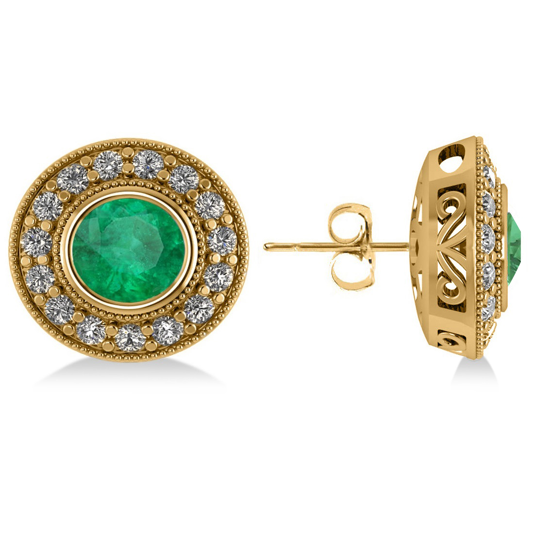 Emerald & Diamond Halo Round Earrings 14k Yellow Gold (3.42ct)