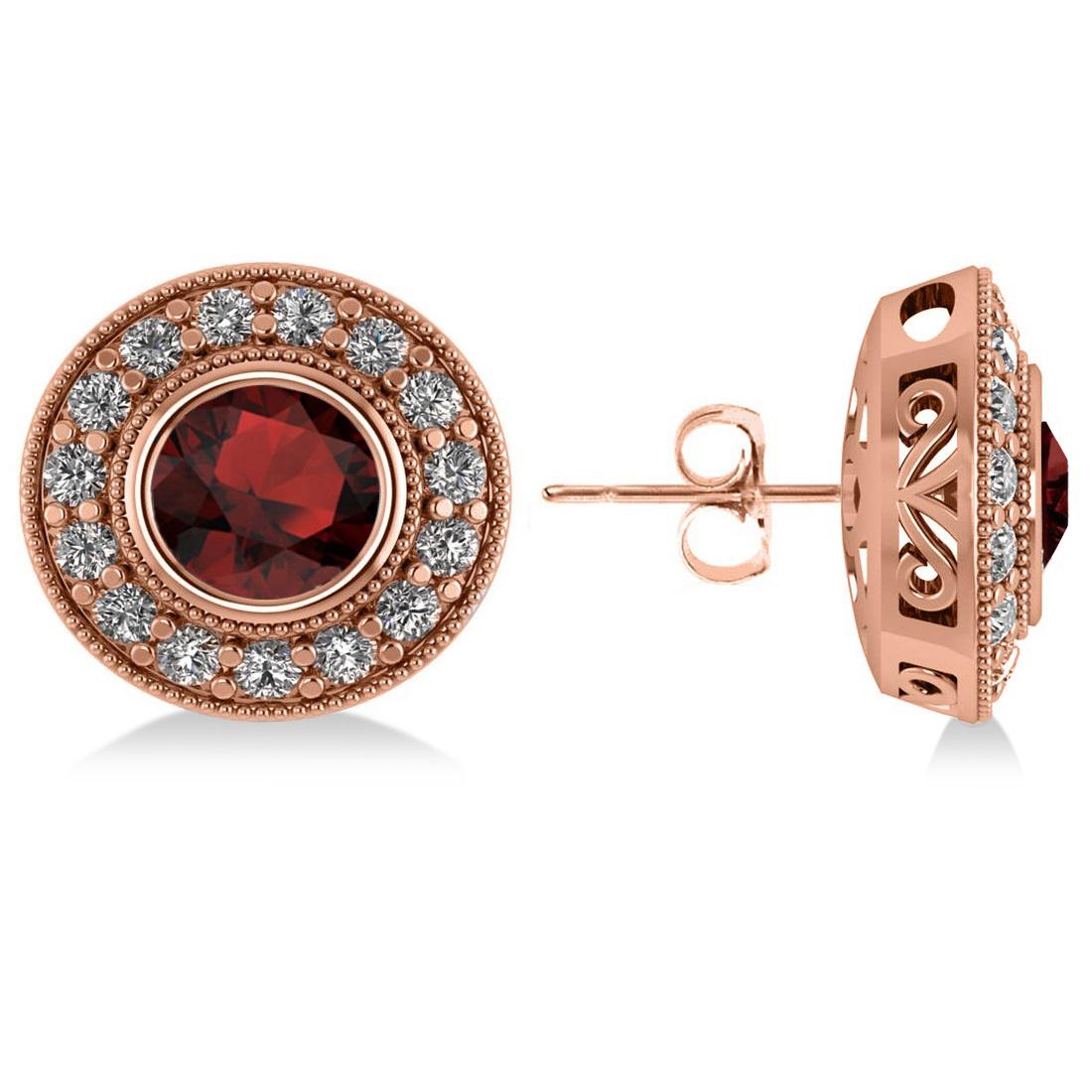 Garnet & Diamond Halo Round Earrings 14k Rose Gold (3.70ct)