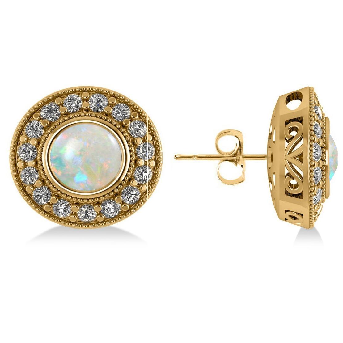 Opal & Diamond Halo Round Earrings 14k Yellow Gold (2.40ct)