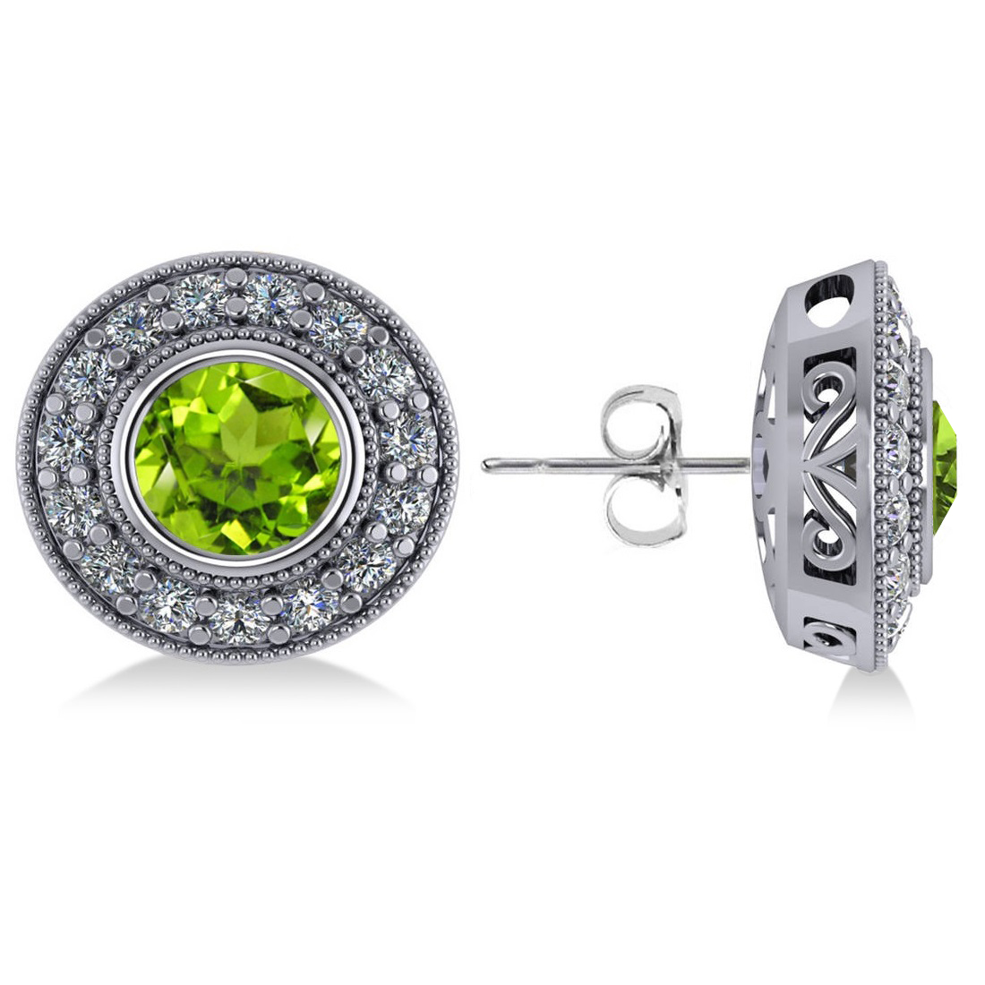Peridot & Diamond Halo Round Earrings 14k White Gold (3.12ct)