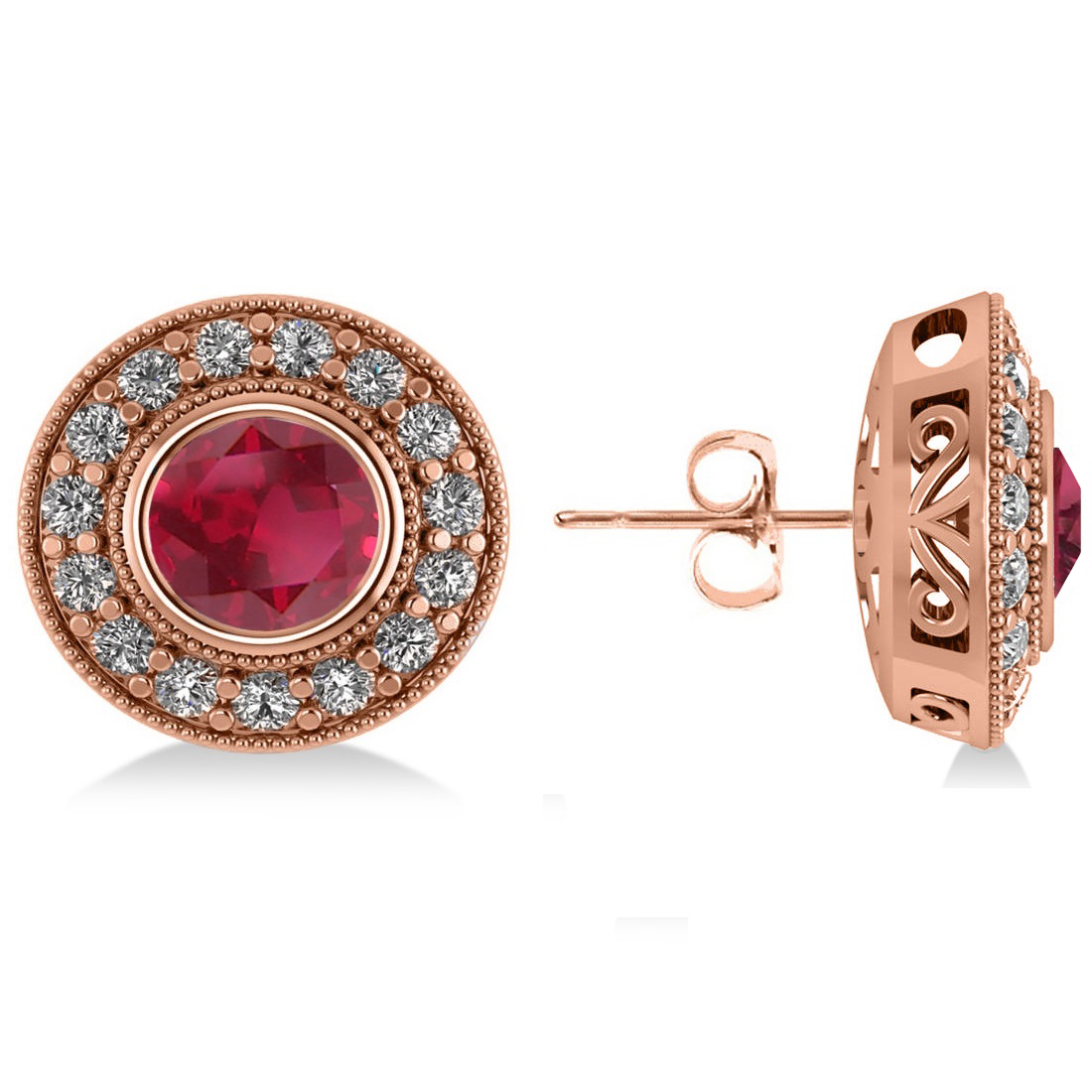 Ruby & Diamond Halo Round Earrings 14k Rose Gold (3.72ct)
