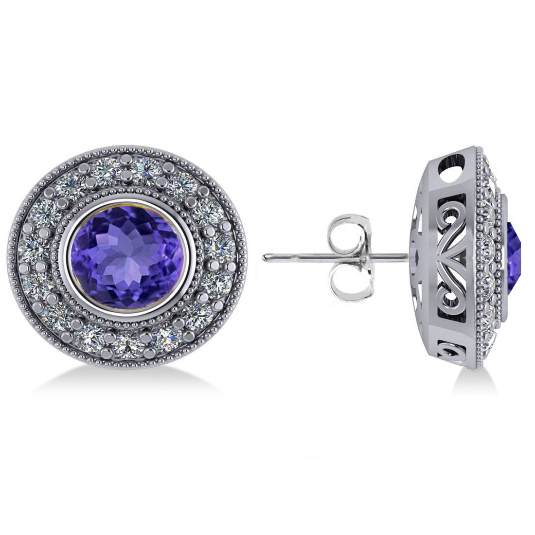 Tanzanite & Diamond Halo Round Earrings 14k White Gold (3.72ct)