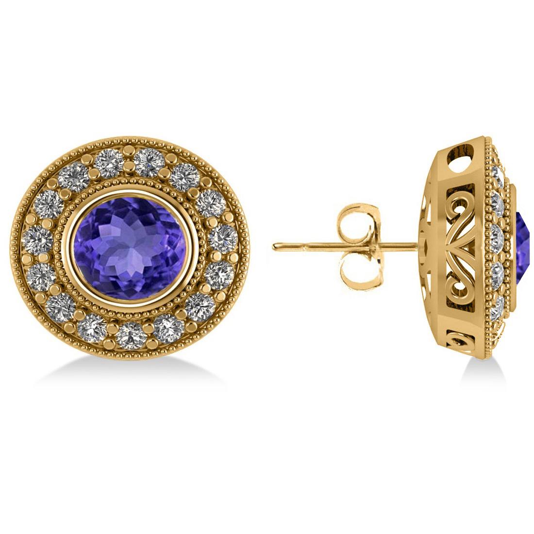 Tanzanite & Diamond Halo Round Earrings 14k Yellow Gold (3.72ct)