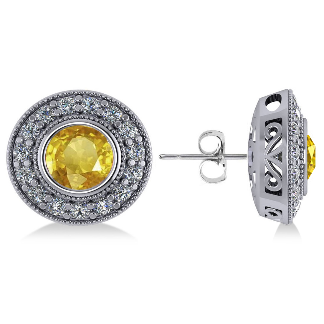 Yellow Sapphire & Diamond Halo Round Earrings 14k White Gold (3.72ct)