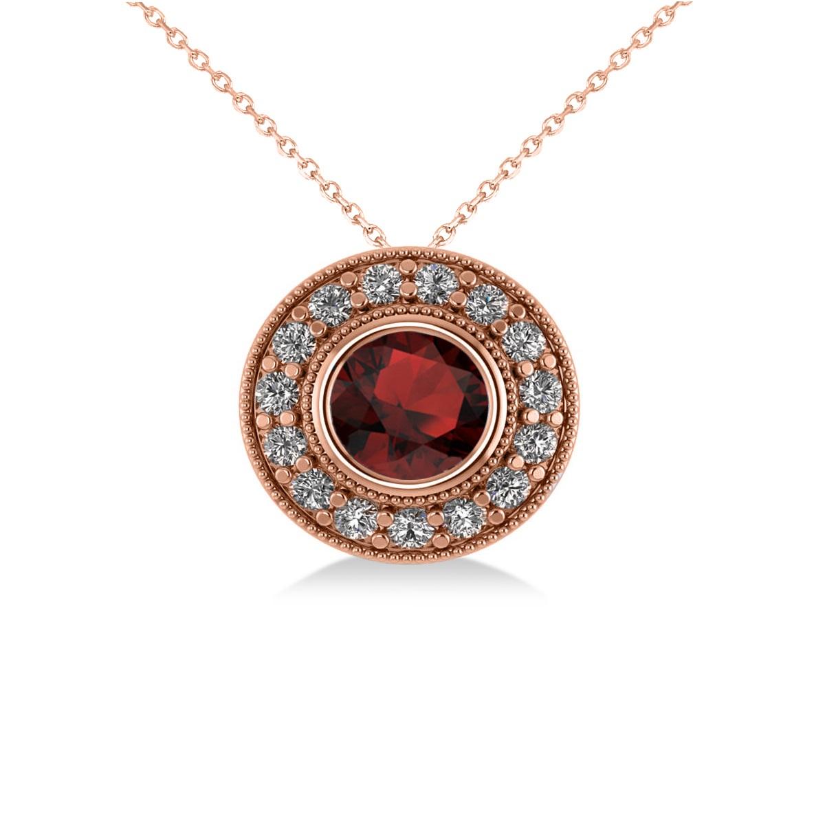 Round Garnet & Diamond Halo Pendant Necklace 14k Rose Gold (1.85ct)
