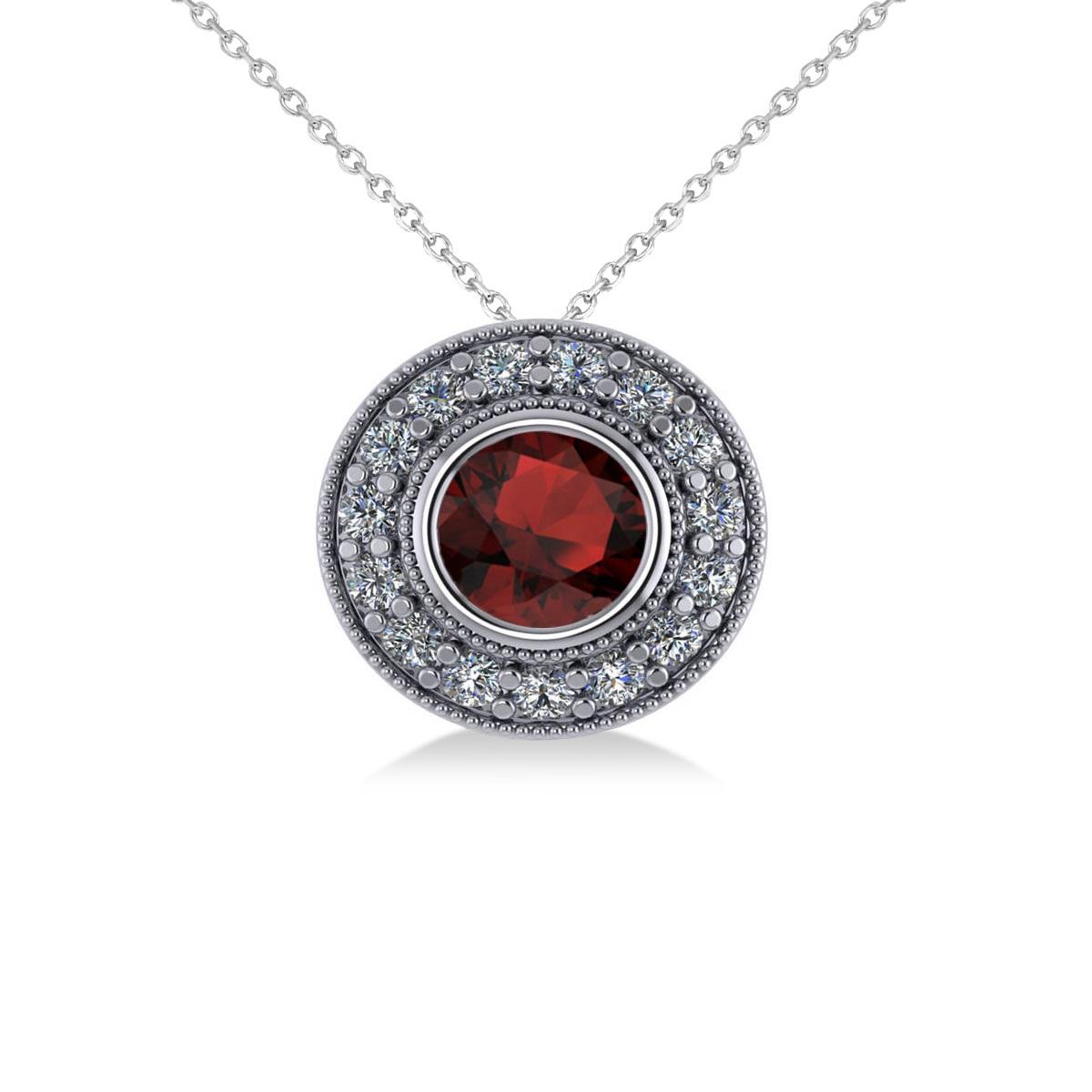 Round Garnet & Diamond Halo Pendant Necklace 14k White Gold (1.85ct)