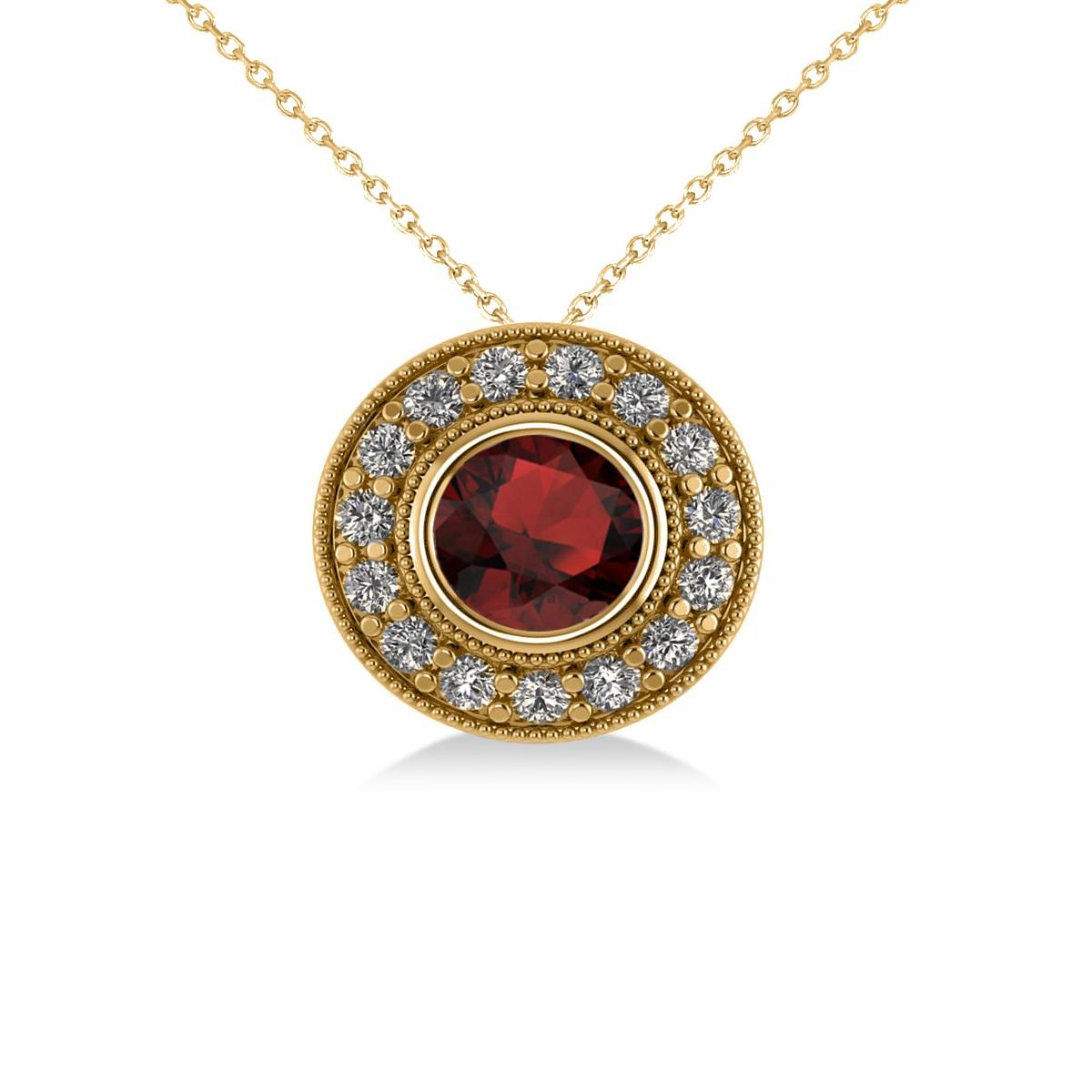 Round Garnet & Diamond Halo Pendant Necklace 14k Yellow Gold (1.85ct)