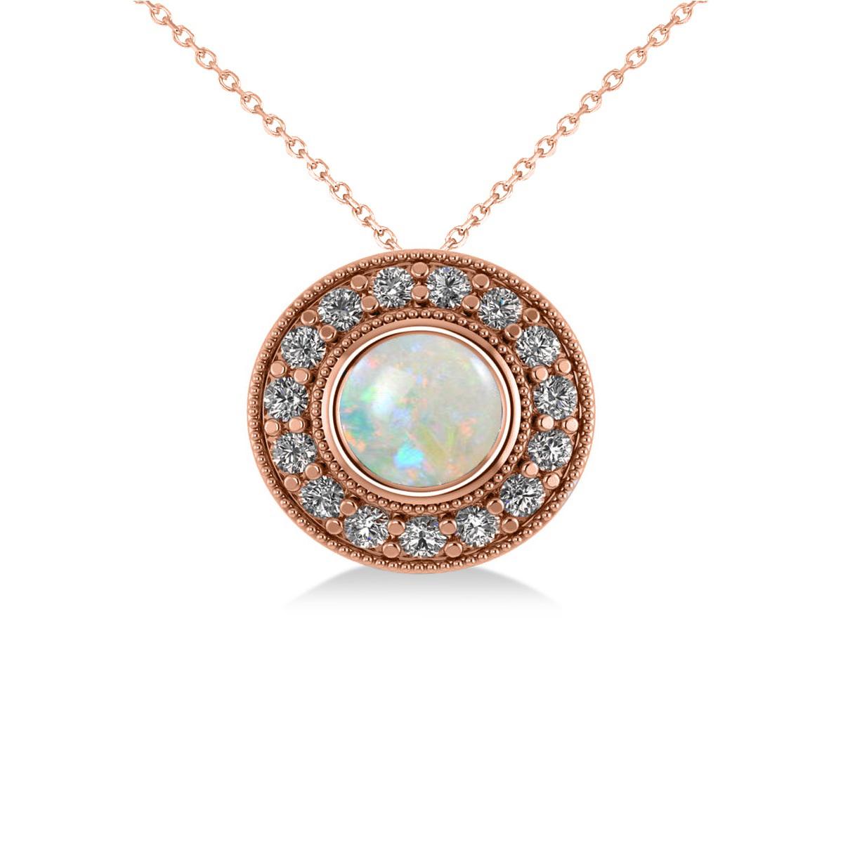 Round Opal & Diamond Halo Pendant Necklace 14k Rose Gold (1.20ct)