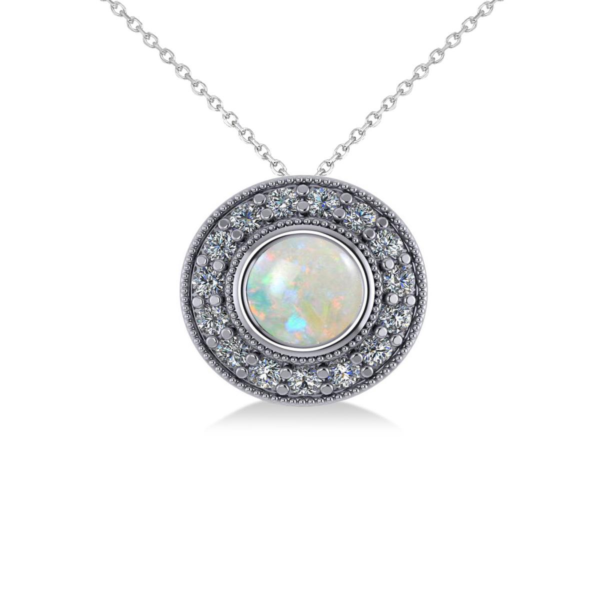 Round Opal & Diamond Halo Pendant Necklace 14k White Gold (1.20ct)