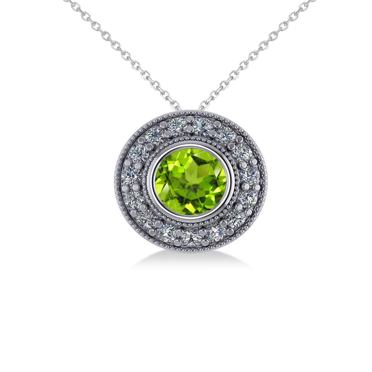 Round Peridot & Diamond Halo Pendant Necklace 14k White Gold (1.56ct)