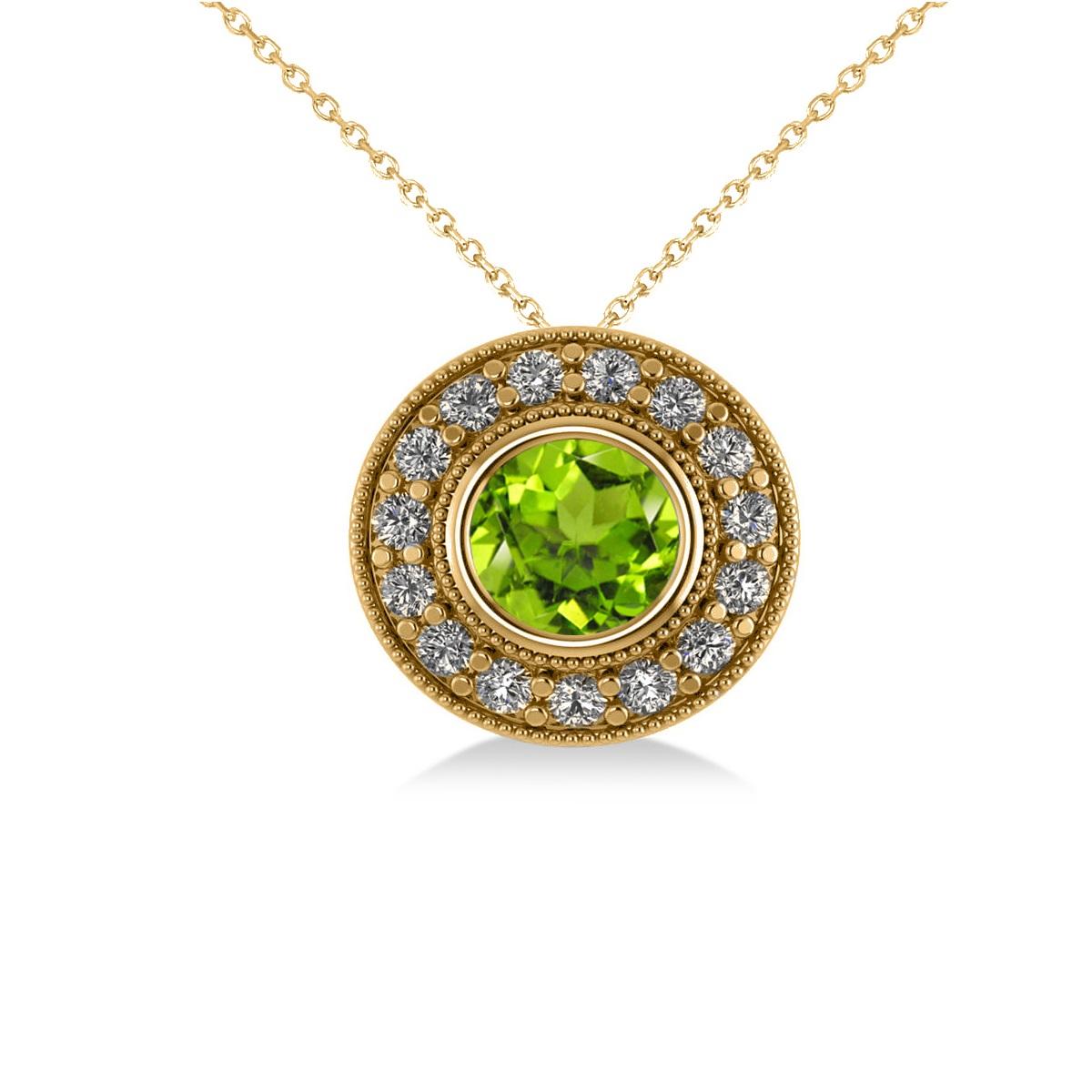 Round Peridot & Diamond Halo Pendant Necklace 14k Yellow Gold (1.56ct)
