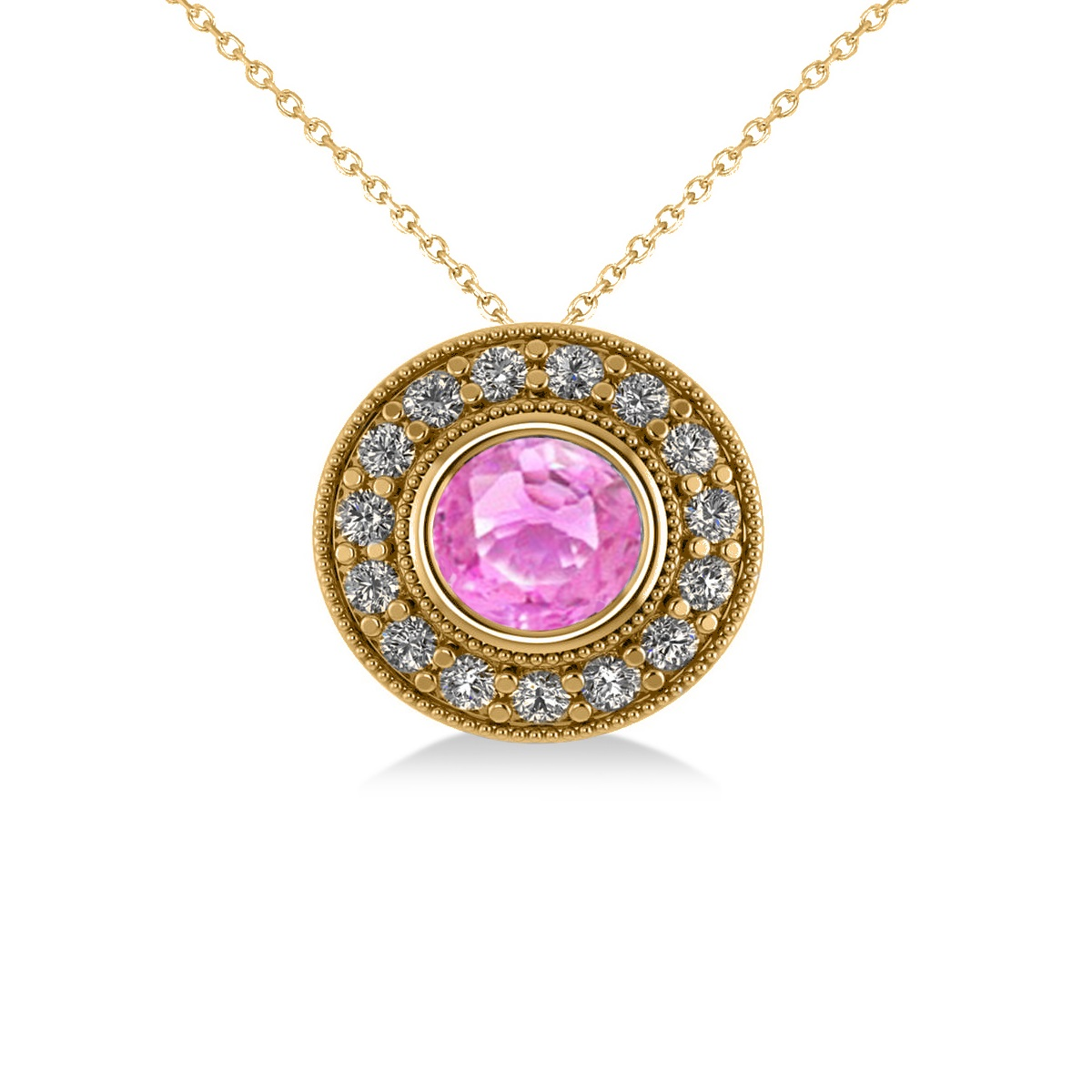 Round Pink Sapphire & Diamond Halo Pendant Necklace 14k Yellow Gold (1.86ct)