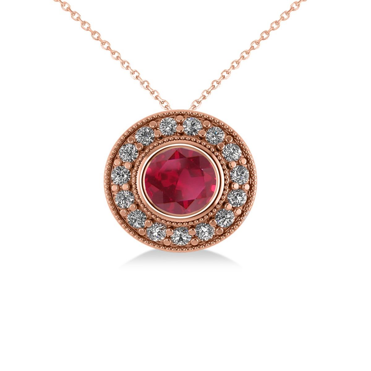 Round Ruby & Diamond Halo Pendant Necklace 14k Rose Gold (1.86ct)