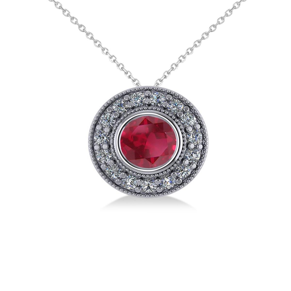 Round Ruby & Diamond Halo Pendant Necklace 14k White Gold (1.86ct)