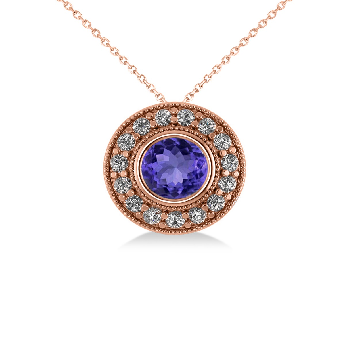 Round Tanzanite & Diamond Halo Pendant Necklace 14k Rose Gold (1.86ct)