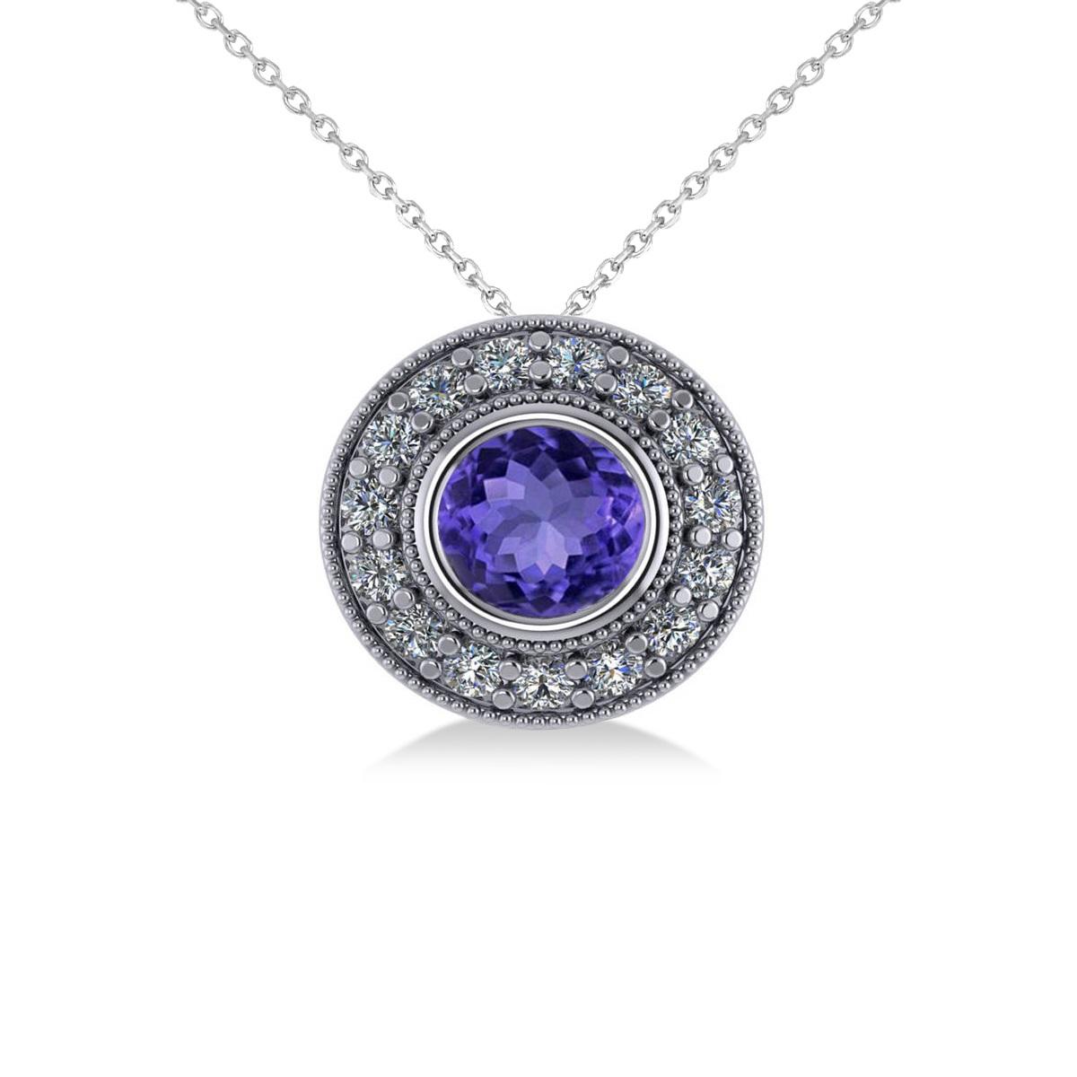 Round Tanzanite & Diamond Halo Pendant Necklace 14k White Gold (1.86ct)