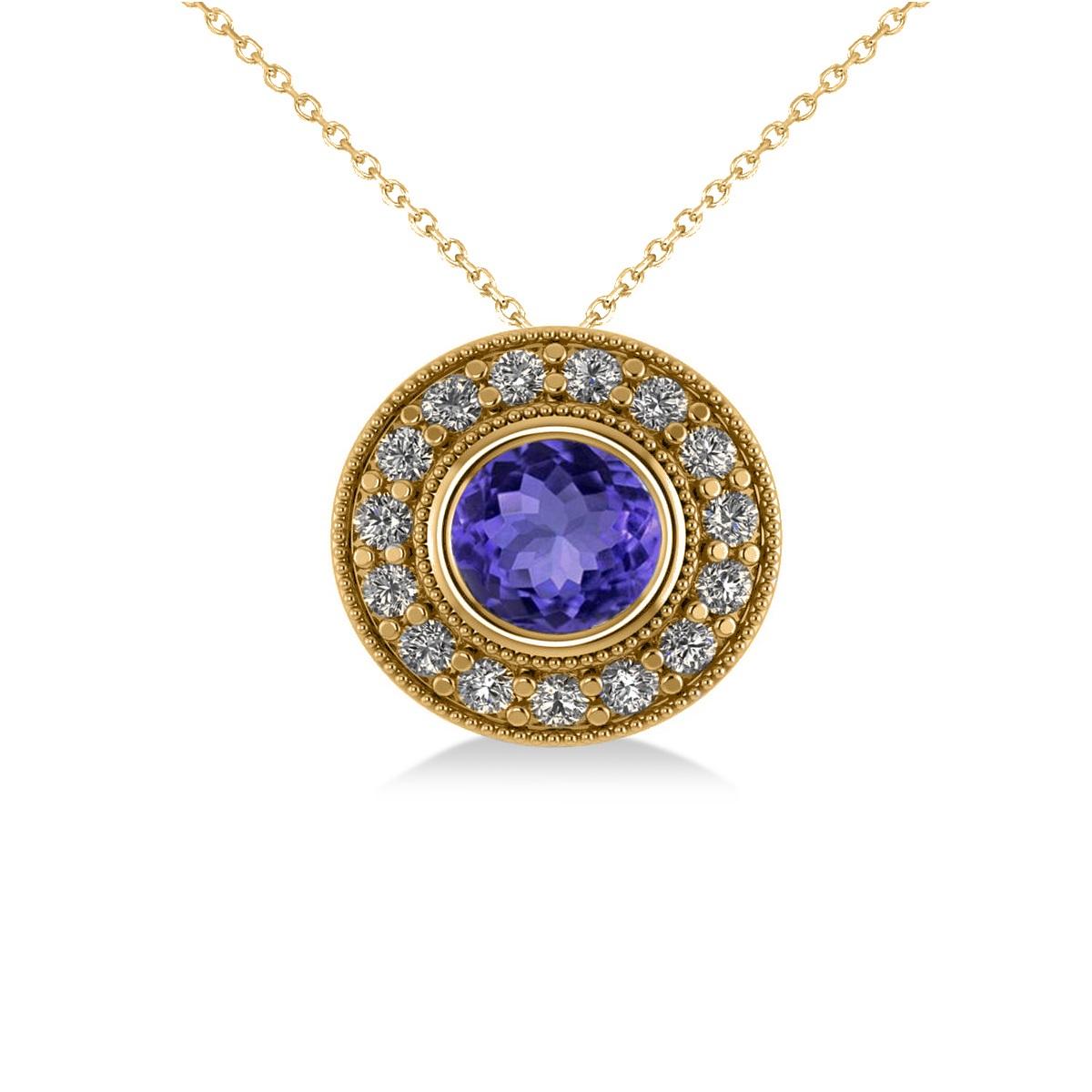 Round Tanzanite & Diamond Halo Pendant Necklace 14k Yellow Gold (1.86ct)