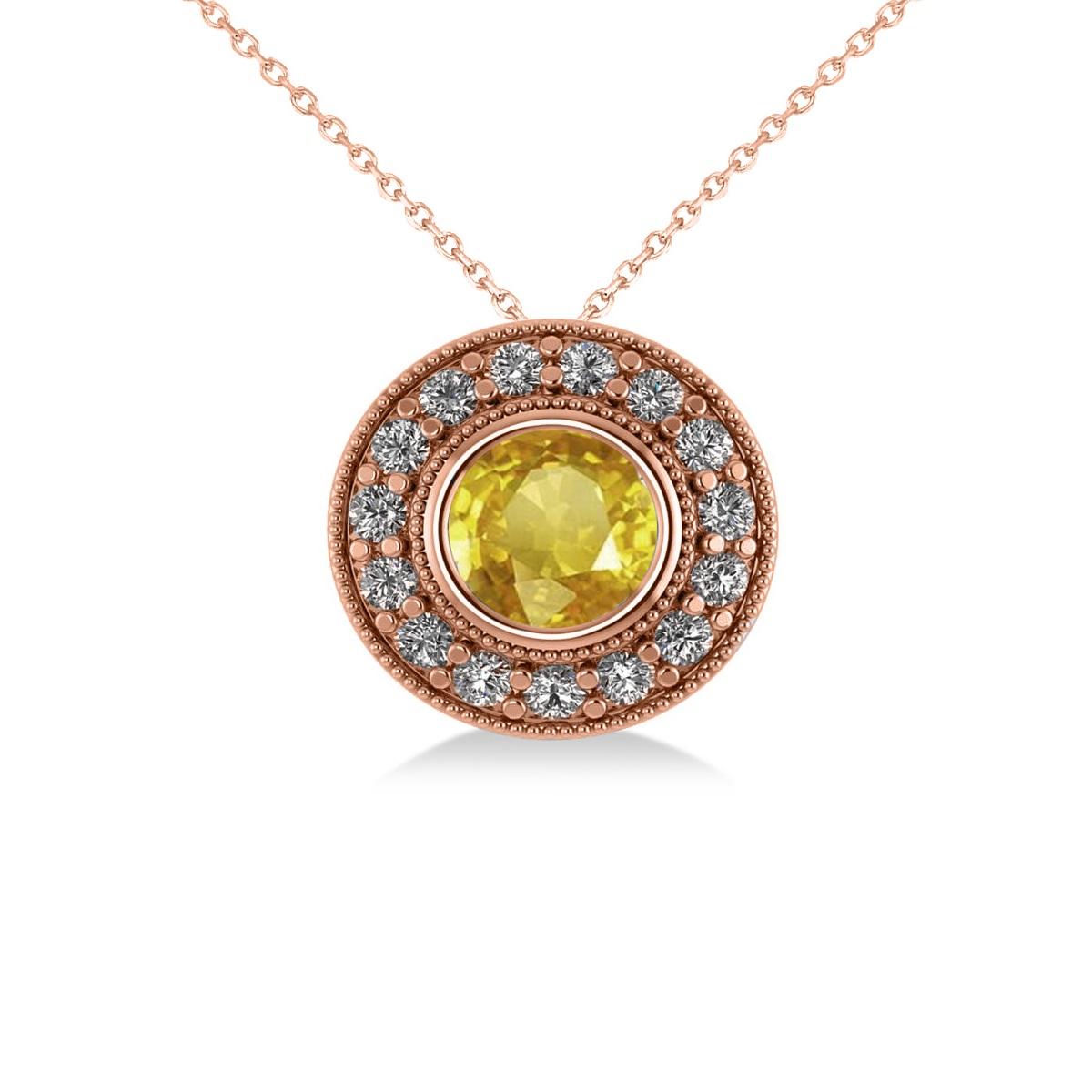Round Yellow Sapphire & Diamond Halo Pendant Necklace 14k Rose Gold (1.86ct)