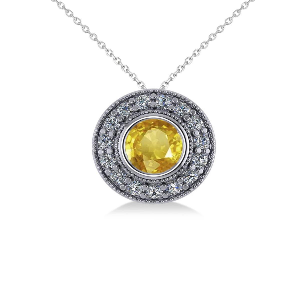 Round Yellow Sapphire & Diamond Halo Pendant Necklace 14k White Gold (1.86ct)