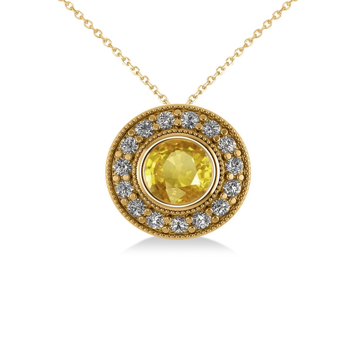 Round Yellow Sapphire & Diamond Halo Pendant Necklace 14k Round Yellow Gold (1.86ct)
