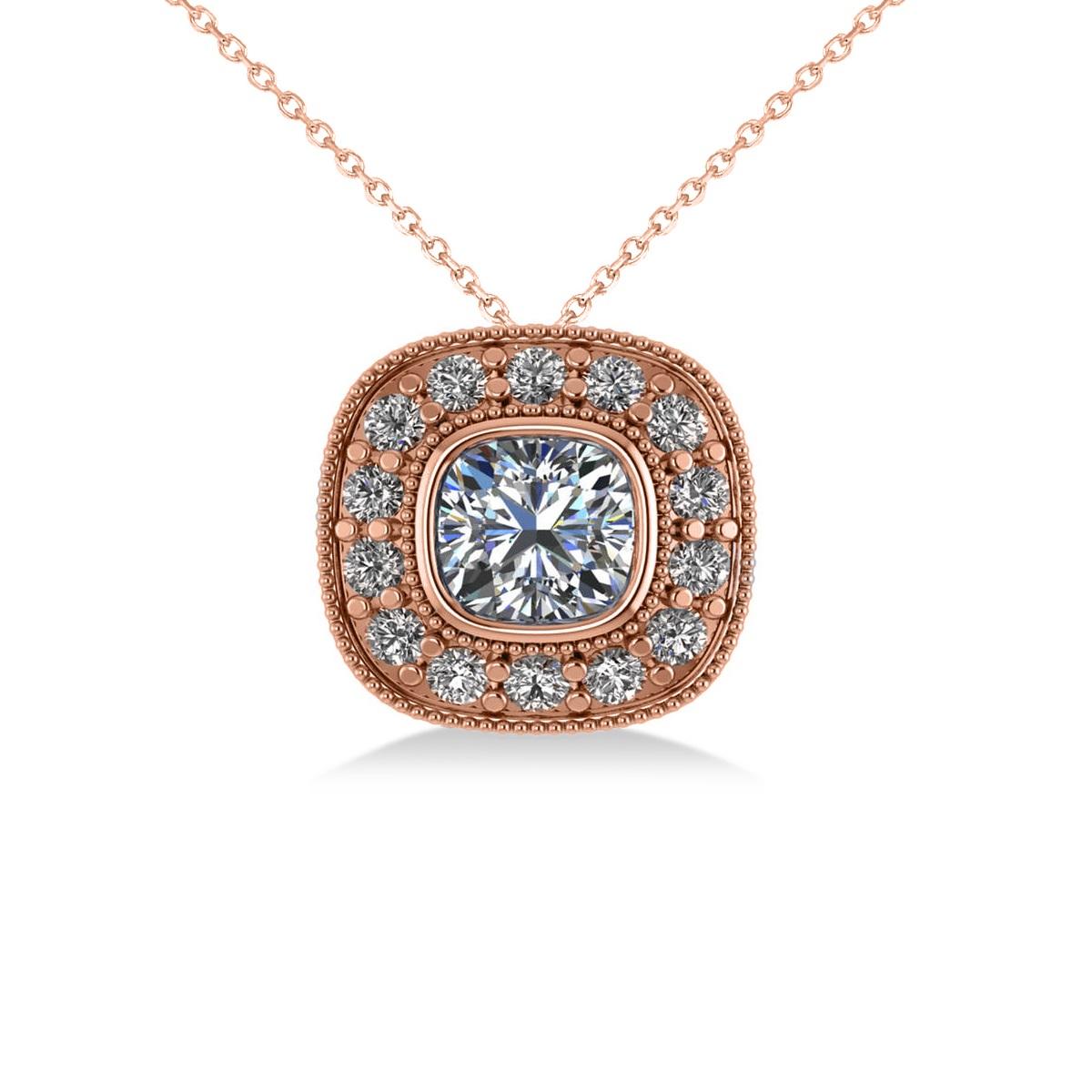Diamond Halo Cushion Pendant Necklace 14k Rose Gold (1.26ct)