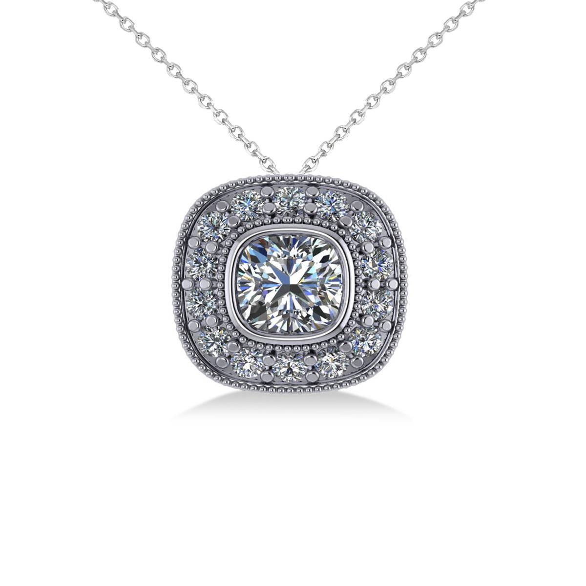Diamond Halo Cushion Pendant Necklace 14k White Gold (1.26ct)