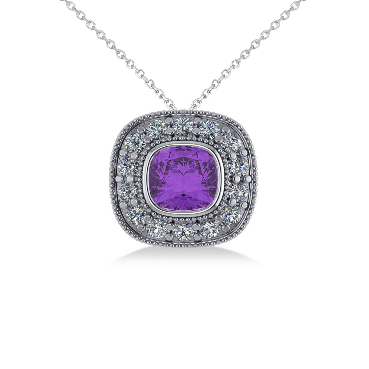 Amethyst & Diamond Halo Cushion Pendant Necklace 14k White Gold (1.27ct)