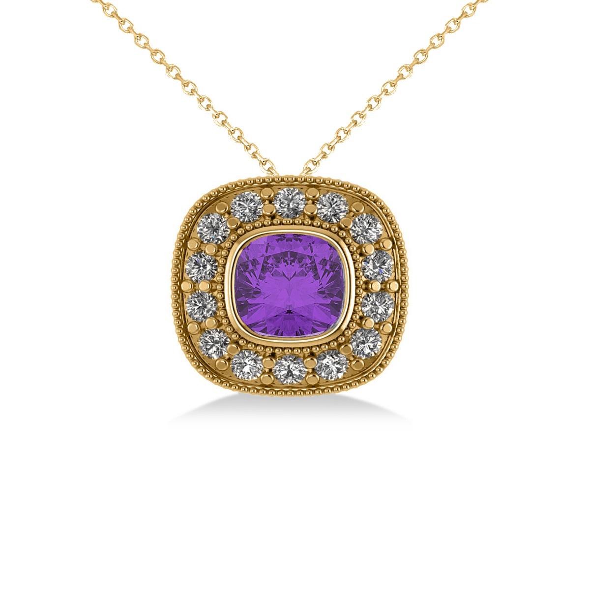 Amethyst & Diamond Halo Cushion Pendant Necklace 14k Yellow Gold (1.27ct)