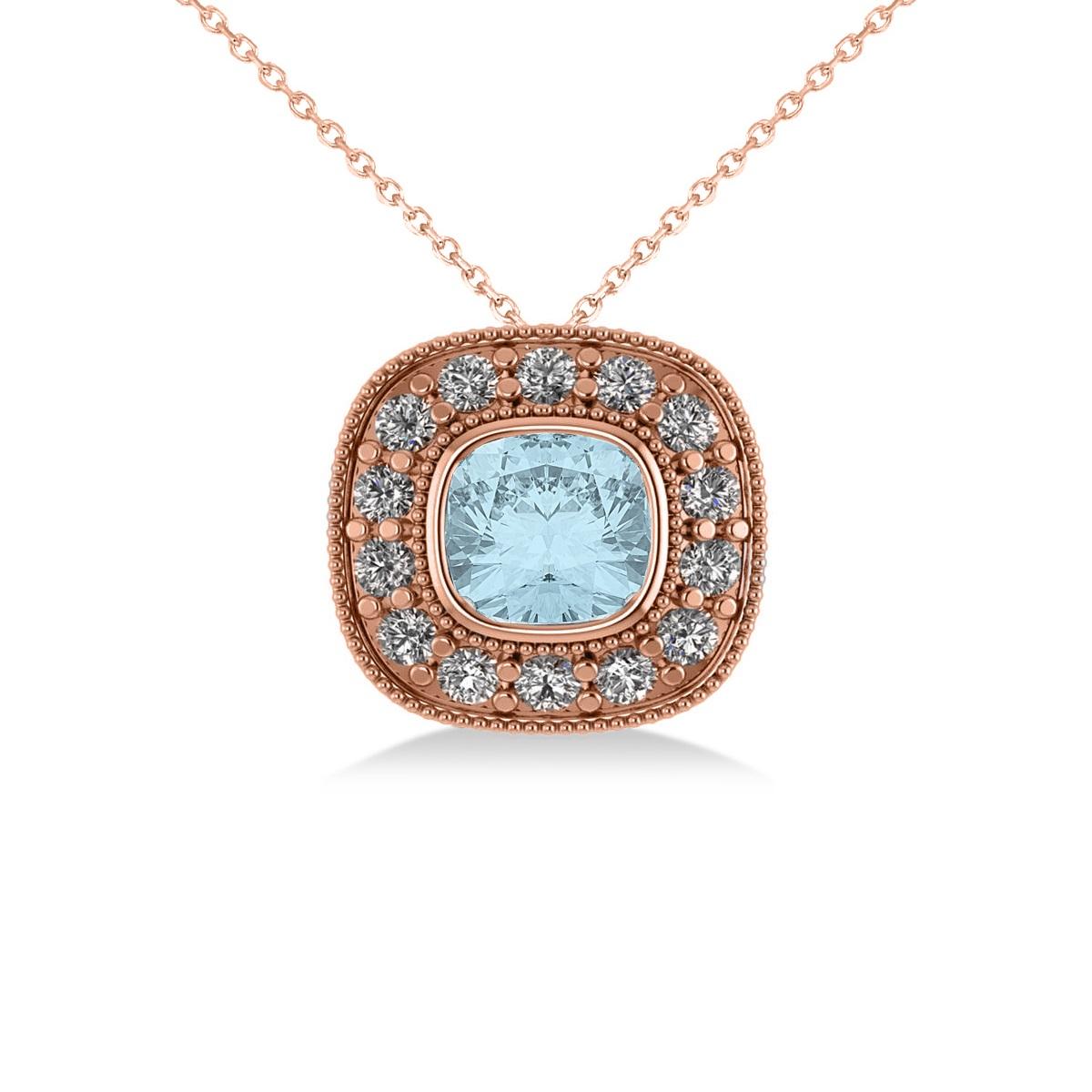 Aquamarine & Diamond Halo Cushion Pendant Necklace 14k Rose Gold (1.23ct)