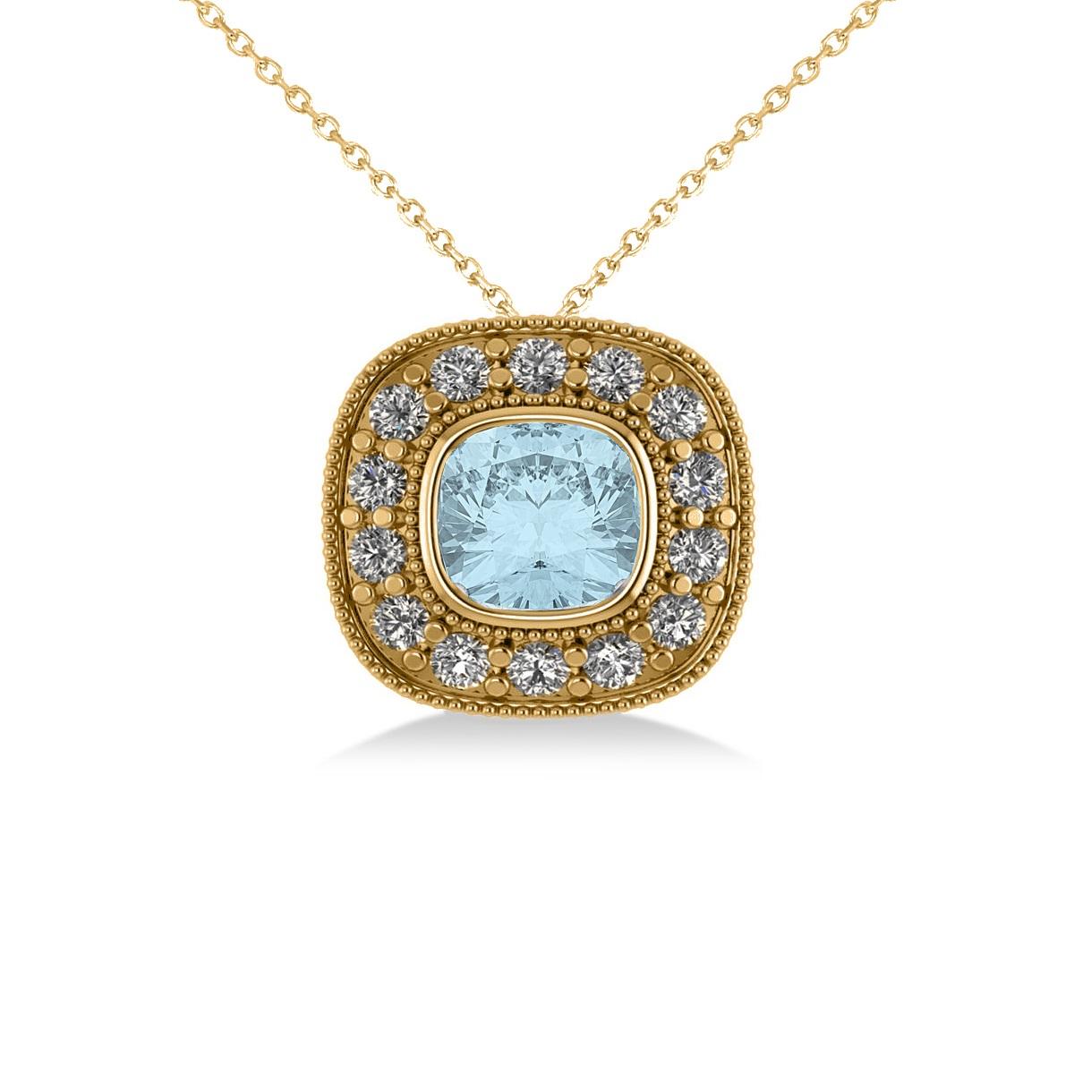 Aquamarine & Diamond Halo Cushion Pendant Necklace 14k Yellow Gold (1.23ct)