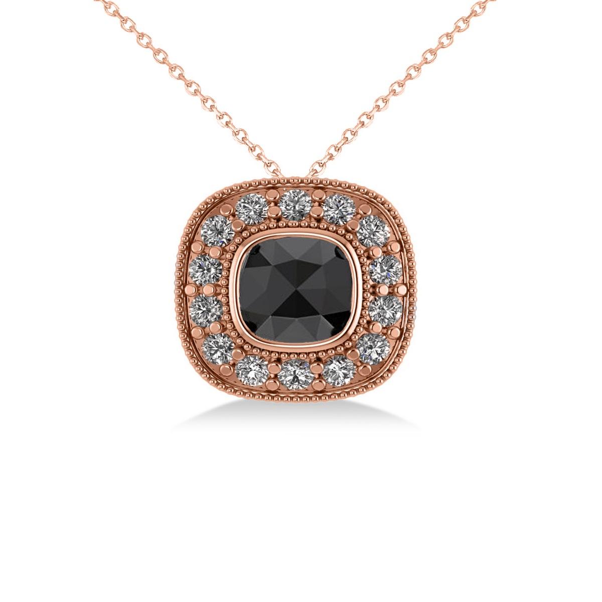 Black Diamond & Diamond Halo Cushion Pendant Necklace 14k Rose Gold (1.26ct)