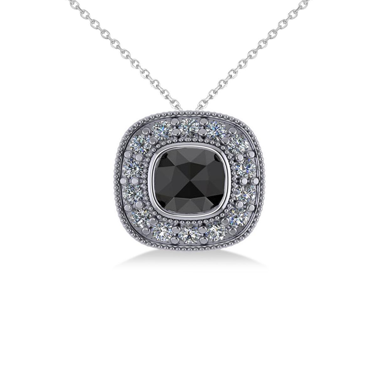 Black Diamond & Diamond Halo Cushion Pendant Necklace 14k White Gold (1.26ct)