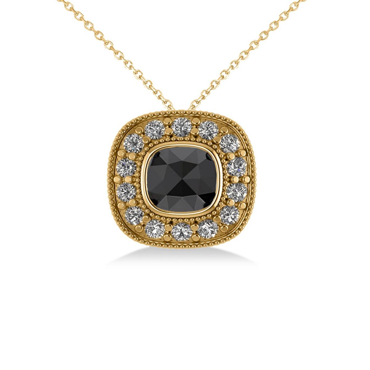 Black Diamond & Diamond Halo Cushion Pendant Necklace 14k Yellow Gold (1.26ct)
