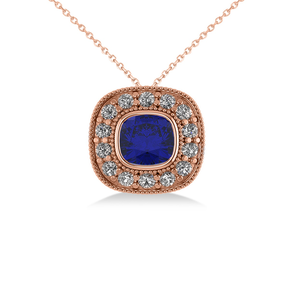 Blue Sapphire & Diamond Halo Cushion Pendant Necklace 14k Rose Gold (1.62ct)